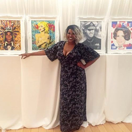 Jamecia @the_ent_mogul wearing Standards & Practices printed maxi dress.