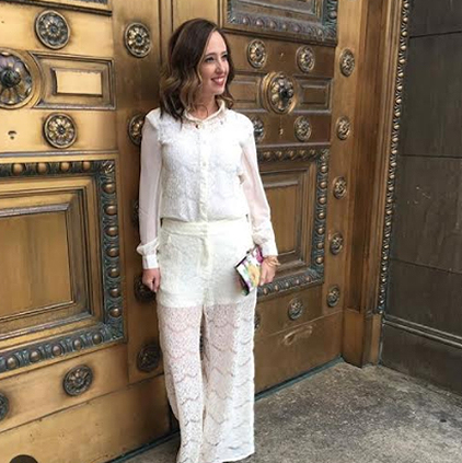 Minidie @astylishcloset wearing Standards & Practices ivory lace blouse and pants.