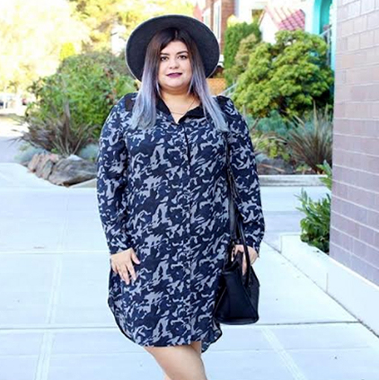 Sahily @prettyinpigment wearing Standards & Practices printed dress.
